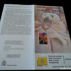 Sellos: INFORMACION FILATELICA DE CORREOS CAMPAÑA CONTRA LA VIOLENCIA DOMESTICA 2001. Lote 207339878