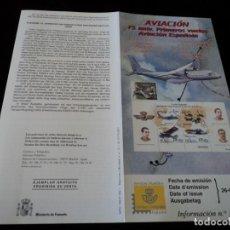 Sellos: INFORMACION FILATELICA DE CORREOS ANIVERSARIO DE LA AVIACION ESPAÑOLA , 2001. Lote 207340503
