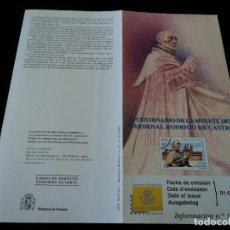 Sellos: INFORMACION FILATELICA DE CORREOS CARDENAL RODRIGO DE CASTRO 2001. Lote 207340781