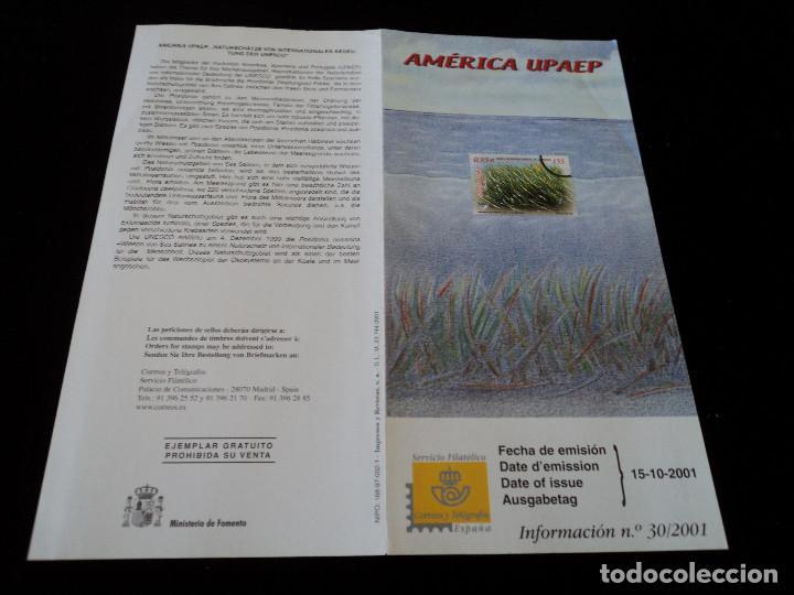 INFORMACION FILATELICA DE CORREOS AMERICA UPAEP POSIDONIA 2001 (Sellos - Material Filatélico - Otros)