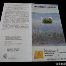 Sellos: INFORMACION FILATELICA DE CORREOS AMERICA UPAEP POSIDONIA 2001. Lote 207341883