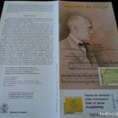 Sellos: INFORMACION FILATELICA DE CORREOS MANUEL DE FALLA 2001. Lote 207342136