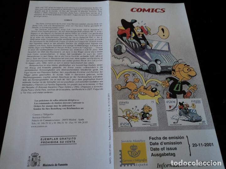 INFORMACION FILATELICA DE CORREOS COMICS ROMPETECHOS 2001 (Sellos - Material Filatélico - Otros)