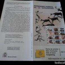 Sellos: INFORMACION FILATELICA DE CORREOS PATRIMONIO MUNDIAL DE LA HUMANIDAD 2001. Lote 207342435