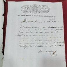 Selos: PAPEL TIMBRADO FISCAL , AÑO 1834 FERNANDO VII , SELLO 4º TIMBRE HABILITADO ISABEL II TIMBROLOGIA. Lote 207765262