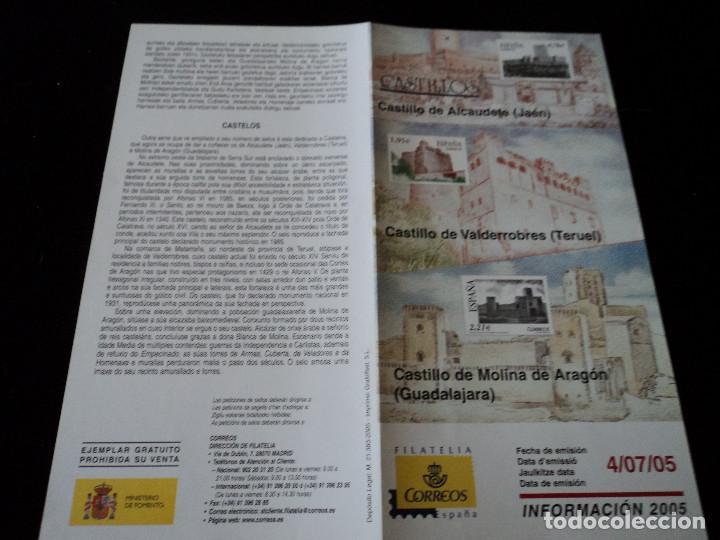 INFORMACION FILATELICA DE CORREOS CASTILLOS DE ALCAUDETE, VALDERROBRES Y MOLINA DE ARAGON 2005 (Sellos - Material Filatélico - Otros)