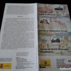 Sellos: INFORMACION FILATELICA DE CORREOS CASTILLOS DE ALCAUDETE, VALDERROBRES Y MOLINA DE ARAGON 2005. Lote 209816550