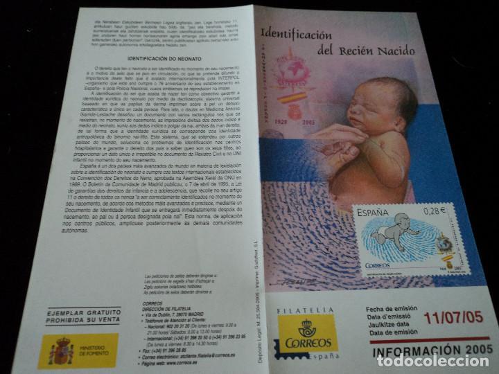 INFORMACION FILATELICA DE CORREOS IDENTIFICACION DEL RECIEN NACIDO 2005 (Sellos - Material Filatélico - Otros)