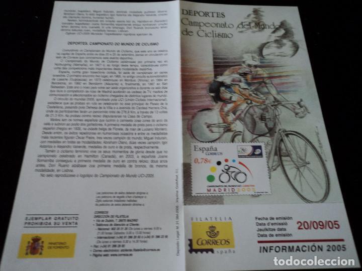 INFORMACION FILATELICA DE CORREOS CAMPEONATOS DEL MUNDO DE CICLISMO 2005 (Sellos - Material Filatélico - Otros)