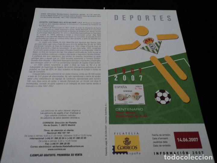 INFORMACION FILATELICA DE CORREOS CENTENARIO DEL BETIS 2007 (Sellos - Material Filatélico - Otros)