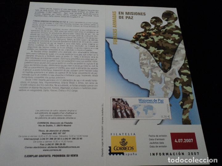 INFORMACION FILATELICA DE CORREOS MISIONES DE PAZ 2007 (Sellos - Material Filatélico - Otros)