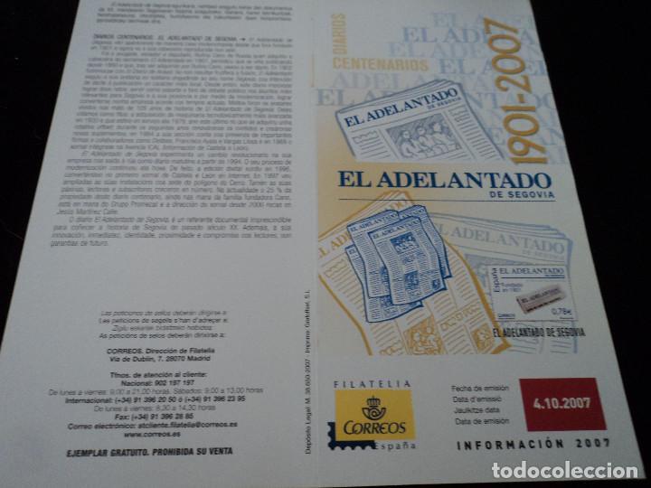 INFORMACION FILATELICA DE CORREOS CENTENARIO DE EL ADELANTADO 2007 (Sellos - Material Filatélico - Otros)