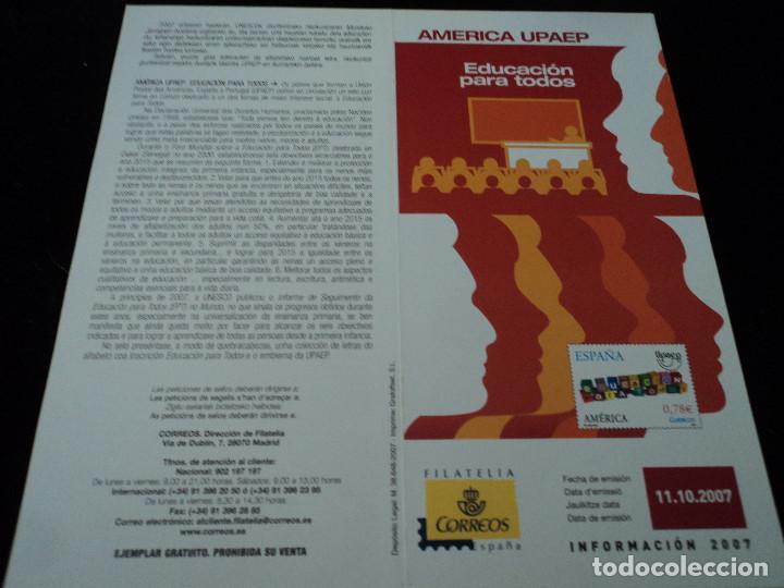 INFORMACION FILATELICA DE CORREOS AMERICA UPAEP 2007 (Sellos - Material Filatélico - Otros)