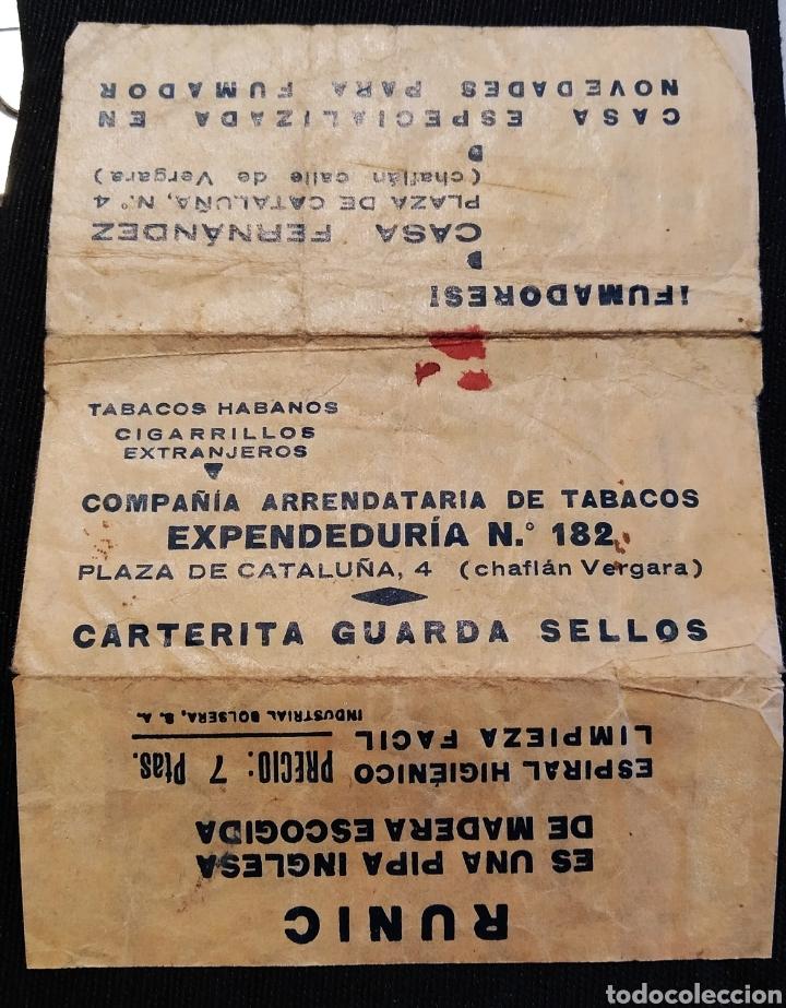 CARTERITA GUARDA SELLOS PUBLICIDAD DE CASA FERNÁNDEZ, BARCELONA Y PIPAS RUNIC (Sellos - Material Filatélico - Otros)