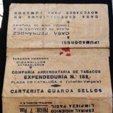 Sellos: CARTERITA GUARDA SELLOS PUBLICIDAD DE CASA FERNÁNDEZ, BARCELONA Y PIPAS RUNIC. Lote 220259136