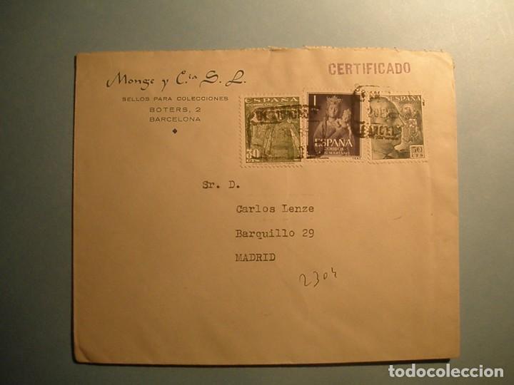 ESPAÑA 1955 - SOBRE MATASELLO OCTOGONAL BARCELONA-MADRID - FRANCO Y VIRGEN DE LA ALMUDENA. (Sellos - Material Filatélico - Otros)