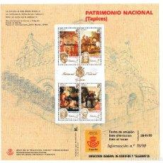 Sellos: FOLLETO EMISION SELLOS TAPICES PATRIMONIO NACIONAL 1990 SERVICIO FILATELICO ESPAÑA CORREOS. Lote 227714405