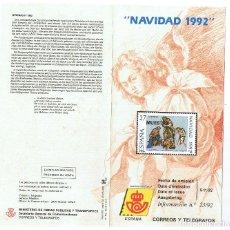 Sellos: FOLLETO EMISION SELLOS NAVIDAD 1992 SERVICIO FILATELICO ESPAÑA CORREOS. Lote 227714717