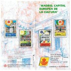 Sellos: FOLLETO EMISION SELLOS MADRID CAPITAL CULTURAL 1992 SERVICIO FILATELICO ESPAÑA CORREOS. Lote 227714860