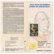 Sellos: FOLLETO EMISION SELLOS DON JUAN CONDE DE BARCELONA 1993 SERVICIO FILATELICO ESPAÑA CORREOS. Lote 227714972