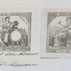 Sellos: SELLO-FISCAL-RECORTADO DE 1881 -50-CTMOS Y 1886 -75 CTMOS.. Lote 227776930