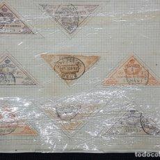 Sellos: 8 FISCALES CAJA POSTAL DE AHORROS AÑO 1917 MONTADOS SOBRE PAPEL A33. Lote 267058539