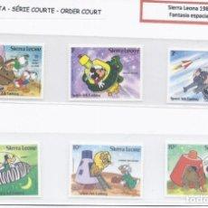 Francobolli: SELLOS DE WALT DISNEY SERIE CORTA DE SIERRA LEONA 1983 FANTASÍA ESPACIAL. Lote 275139048