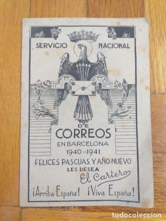EL CARTERO LES DESEA FELICES FIESTAS SERVICIO NACIONAL DE CORREOS EN BARCELONA 1940-1941 (Sellos - Material Filatélico - Otros)