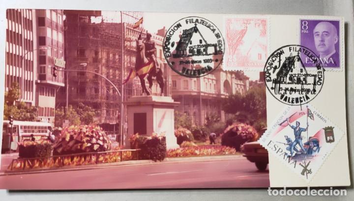 Sellos: Exposición filatélica Valencia, año1980. con sellos. Imagen de la estatua de Franco. - Foto 2 - 284259273