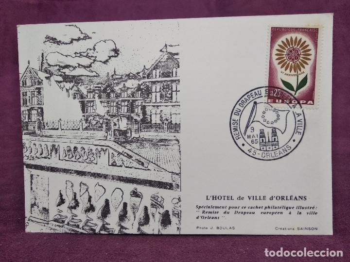 FRANCIA, 1965, TARJETA ESPECIAL ENTREGA BANDERA EUROPEA, CON SELLO Y MATASELLOS CONMEMORATIVOS (Sellos - Material Filatélico - Otros)
