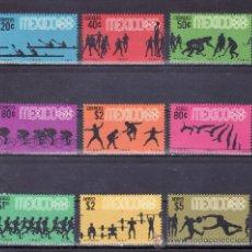 Sellos: MEXICO 743/8, A 280/3 SIN CHARNELA, DEPORTE, PRELUDIO A LOS JUEGOS OLIMPICOS DE MEXICO. Lote 25321173