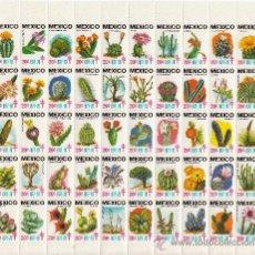 Sellos: MEXICO AÑO 1977/8 PLIEGO DE 50 VIÑETAS PRO-TUBERCULOSOS SIN CHARNELA, FLORES, CACTUS. Lote 27627478