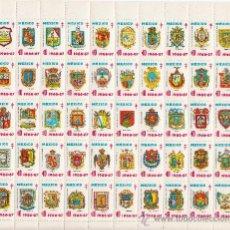 Sellos: MEXICO AÑO 1966/7 PLIEGO DE 50 VIÑETAS PRO-TUBERCULOSOS SIN CHARNELA, ESCUDOS,. Lote 27627674
