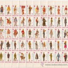 Sellos: MEXICO AÑO 1965/6 PLIEGO DE 50 VIÑETAS PRO-TUBERCULOSOS SIN CHARNELA, HISTORIA UNIFORME MILITAR. Lote 27627716