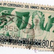 Sellos: 80 CTS CORREO AEREO MEXICO CENTENARIO DEL HIMNO NACIONAL. Lote 234775910