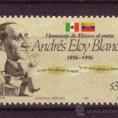 Sellos: MEXICO 1725*** - AÑO 1997 - HOMENAJE AL POETA ANDRES ELOY BLANCO. Lote 36997249