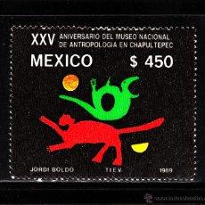 Sellos: MÉXICO 1295** - AÑO 1989 - 25º ANIVERSARIO DEL MUSEO NACIONAL DE ANTROPOLOGÍA. Lote 40316662