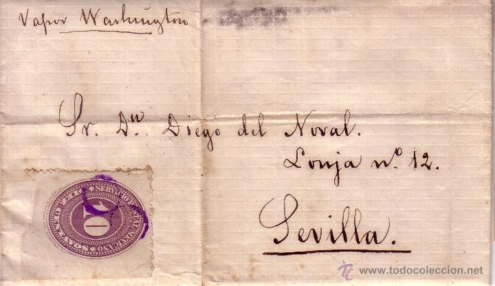 CARTA CIRCULADA DE MEXICO A SEVILLA - INDICANDO POR VAPOR WACHINTON - LLEGADA N.YORK/MADRID/SEVILLA (Sellos - Extranjero - América - México)