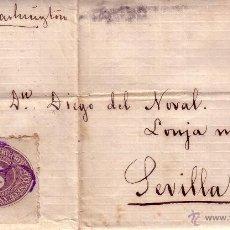 Sellos: CARTA CIRCULADA DE MEXICO A SEVILLA - INDICANDO POR VAPOR WACHINTON - LLEGADA N.YORK/MADRID/SEVILLA. Lote 40323344
