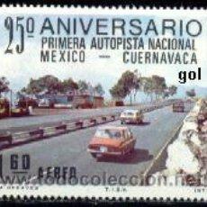 Francobolli: MÉJICO. A 432 PRIMERA AUTOVÍA NACIONAL MEXICO-CUERNAVACA**. COCHES. 1977. SELLOS NUEVOS Y NUMERACIÓN. Lote 42431099