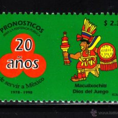 Sellos: MEXICO 1793** - AÑO 1998 - 20º ANIVERSARIO DE LA LOTERIA MEXICANA - MACUILXOCHITI, DIOS DEL JUEGO. Lote 43380417