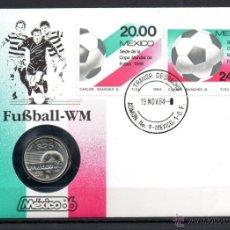 Sellos: SOBRE FILATELICO NUMISMATICO CONM. COPA MUNDIAL DE FUTBOL MEXICO 86- FIFA- MONEDA 25 PESOS PLATA S/C. Lote 48643352
