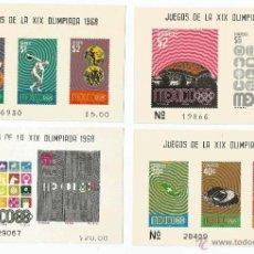Sellos: MEXICO 1968 4 HOJAS BLOQUE DE LOS JUEGOS OLIMPICOS DE MEXICO. Lote 54129994