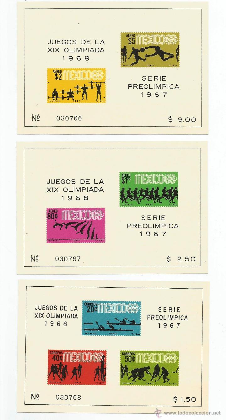 MEXICO 1967 3 HOJAS BLOQUE DE LA SERIE PREOLIMPICA (Sellos - Extranjero - América - México)