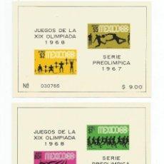 Sellos: MEXICO 1967 3 HOJAS BLOQUE DE LA SERIE PREOLIMPICA. Lote 54316017