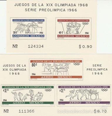 MEXICO 1968. SERIE LA XIX OLIMPIADA 1968 Y SERIE PREOLIMPICA 1966. EN HB . **.MNH (Sellos - Extranjero - América - México)