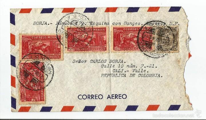 MEXICO CORREO AEREO 1941 SOBRE VOLADO DESDE MEXICO A COLOMBIA. (Sellos - Extranjero - América - México)