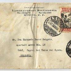 Sellos: MEXICO CORREO AÉREO. 1936 CARTA VOLADA DESDE MEXICO A COLOMBIA. CANCELACIÓN DE DOBLE CÍRCULO . Lote 59821168
