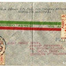 Sellos: MEXICO CORREO AÉREO. 1940 HISTORIA POSTAL. CARTA VOLADA DE MEXICO A COLOMBIA.. Lote 61572292