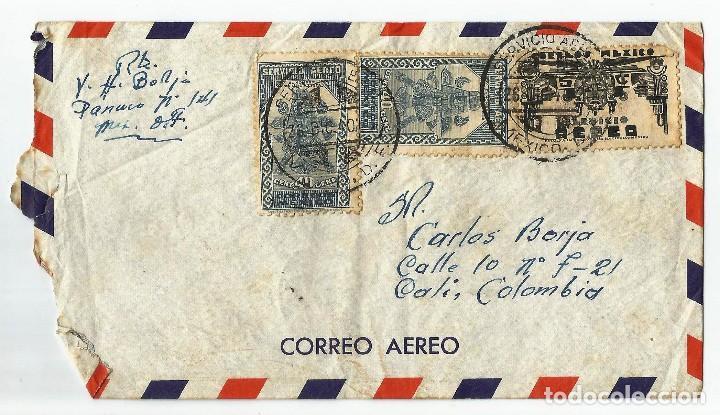 MEXICO CORREO AÉREO. 1940 HISTORIA POSTAL. CARTA VOLADA DESDE MEXICO A COLOMBIA. (Sellos - Extranjero - América - México)